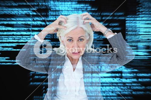 Composite image of portrait of stressed businesswoman with hands on head