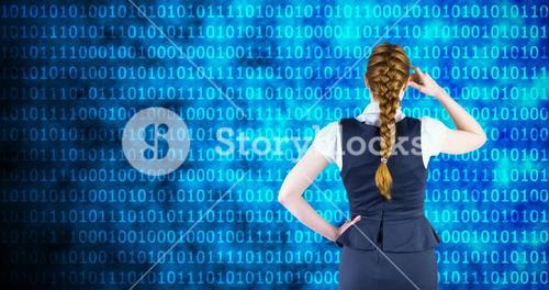 Composite image of redhead businesswoman scratching her head