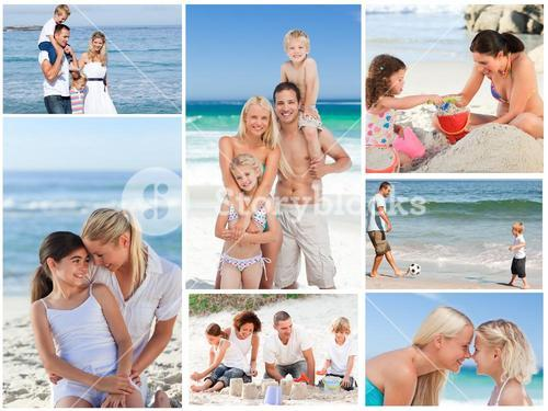 Collage of a family having fun and relaxing