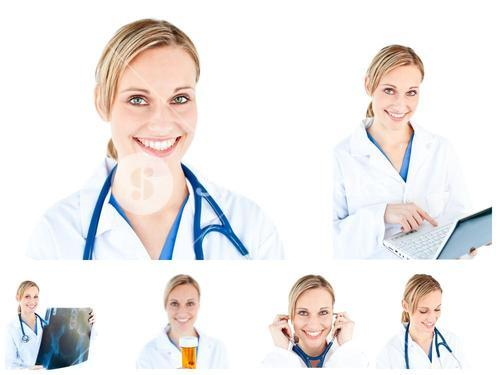 Collage of a female scientist using a stethoscope