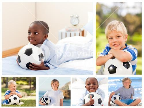 Collage of several boys with footballs