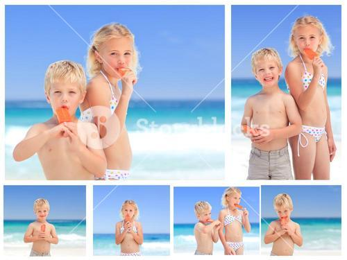 Collage of children eating ice cream on the beach