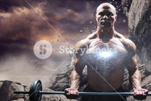 Composite image of portrait of muscular man lifting crossfit