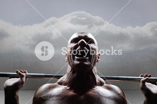Composite image of healthy man lifting crossfit