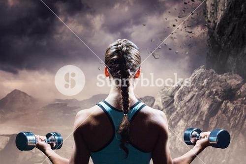 Composite image of rear view of braided hair woman lifting dumbbells