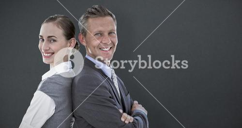 Composite image of happy business team