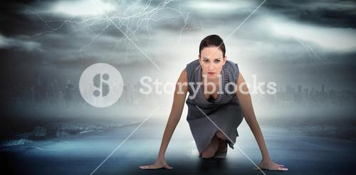 Composite image of serious gorgeous woman ready for departure
