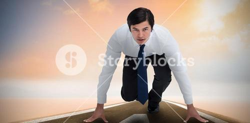 Composite image of tradesman in sprinting position