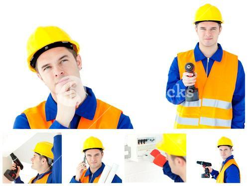 Collage of a young contractor