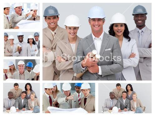 Collage of friendly construction people