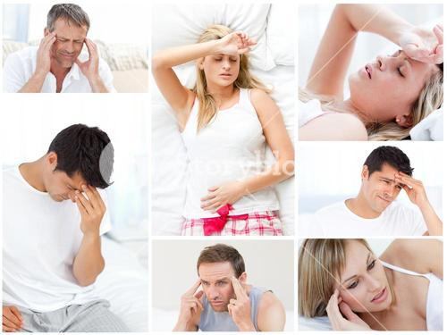 Collage of sick people