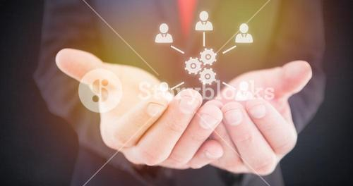Composite image of businessman presenting with his hands