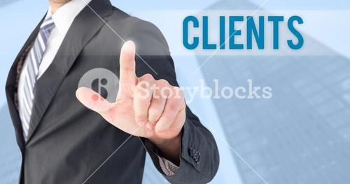 Clients against skyscraper