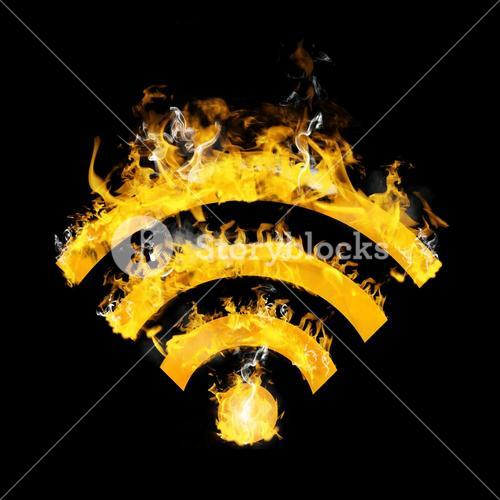 Composite image of wifi sign on fire