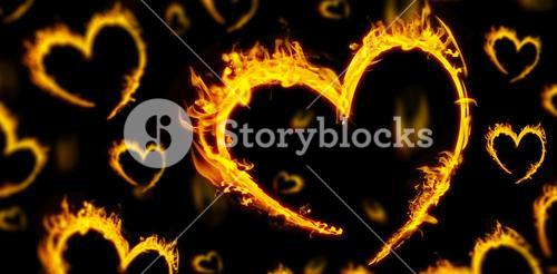 Composite image of several heart in fire