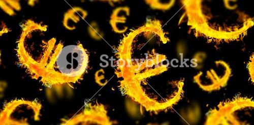 Composite image of euro sign on fire