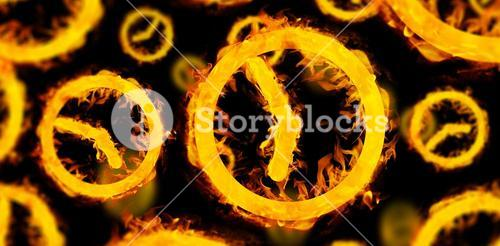 Composite image of several clocks in fire