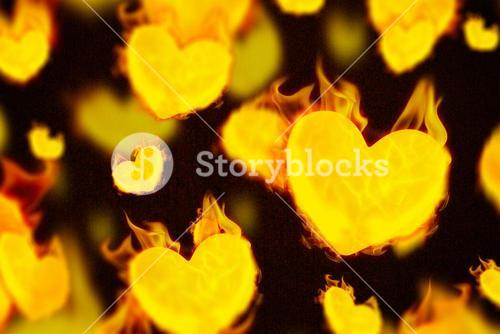 Composite image of several heart on fire