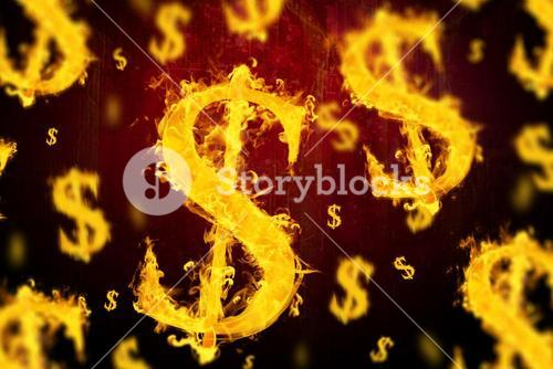 Composite image of american dollar on fire