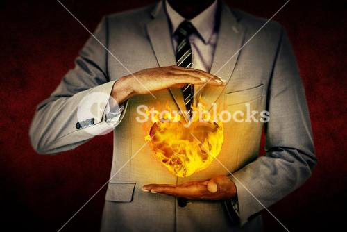 Composite image of handsome businessman gesturing with hands