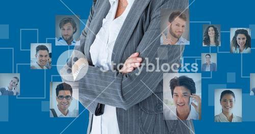 Composite image of businesswoman standing arms crossed on white background
