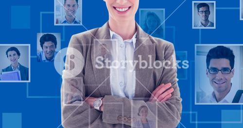 Composite image of happy businesswoman standing arms crossed