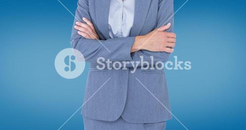 Composite image of portrait of smiling businesswoman standing arms crossed
