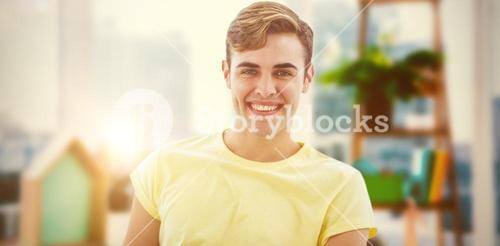 Composite image of smiling casual business man