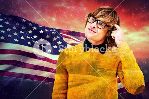 Composite image of portrait of confused hipster