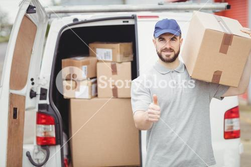 Delivery man holding package