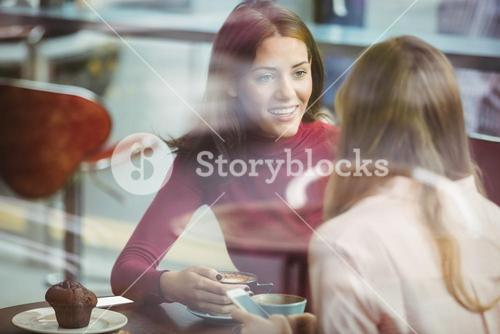 Pretty friends chatting over coffee