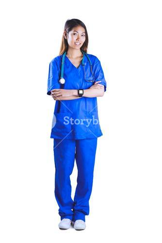 Asian nurse with stethoscope crossing arms