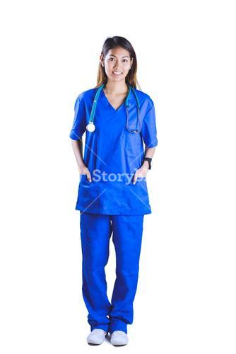 Asian nurse with hands in pocket