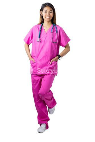 Asian nurse with stethoscope looking at the camera