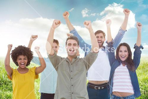 Composite image of young creative business people gesturing arm up