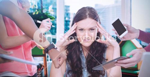 Composite image of woman with head in hands