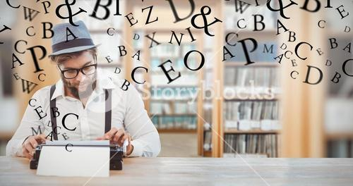 Composite image of hipster wearing eye glasses and hat working on typewriter