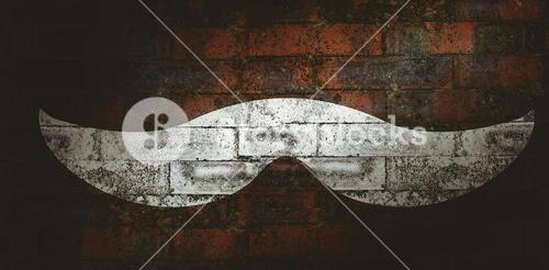 Composite image of icon of a mustache