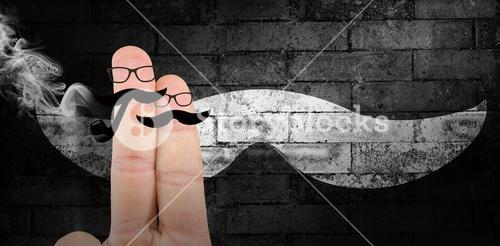 Composite image of fingers with mustache