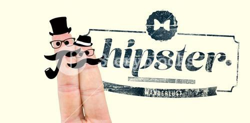 Composite image of two fingers with mustache
