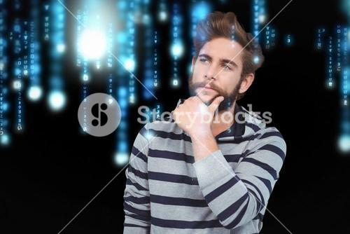 Composite image of thoughtful hipster with hand on chin