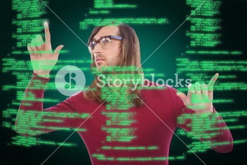 Composite image of creative businessman gesturing in office