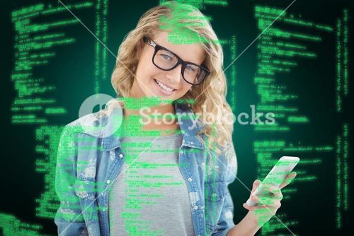 Composite image of portrait of smiling woman wearing eyeglasses while holding smartphone