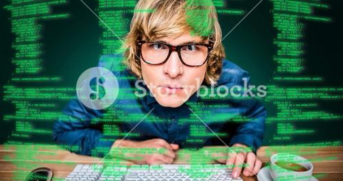 Composite image of hipster businessman looking closely the camera