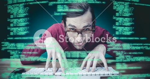 Composite image of man wearing eye glasses typing on computer keyboard