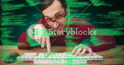Composite image of man wearing eye glasses pointing on computer keyboard
