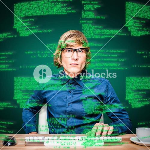 Composite image of focused hipster businessman using computer