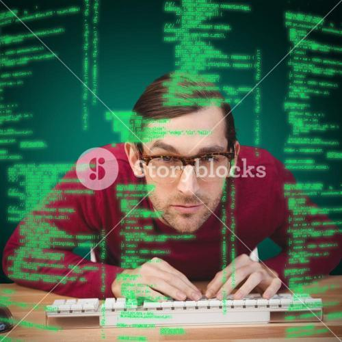 Composite image of portrait of concentrated man working on computer
