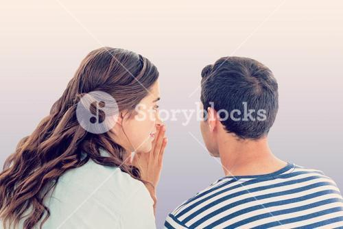 Composite image of woman whispering secret to boyfriend