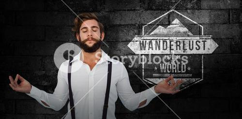 Composite image of hipster meditating arms outstretched